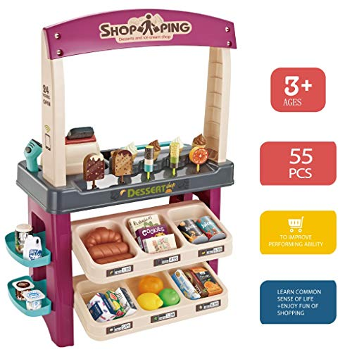 Coohole Pretend Role Play Gaming Ice Cream Shop 55 Pieces Luxury Grocery Store Playset with Scanner Toy Accessories Fun with...