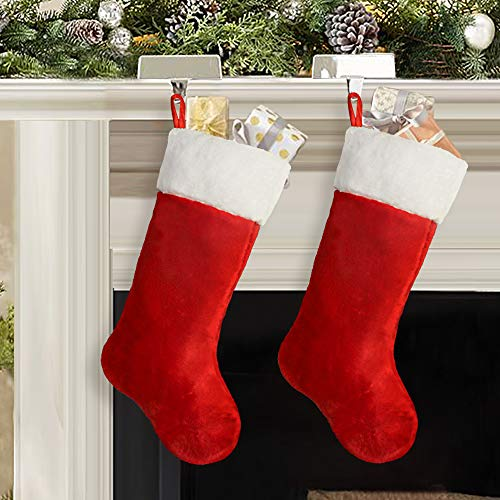Ivenf Christmas Stockings, 2 Pcs 19 inches Classic Red and White Mercerized Velvet with Extra Thick Plush Stockings, for Family Holiday Xmas Party Decorations