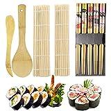 ZFYQ 9 Piezas Kit para Hacer Sushi de Bambú, Herramienta para Hacer Sushi de Bambú Simple y Profesional Sushi Kit