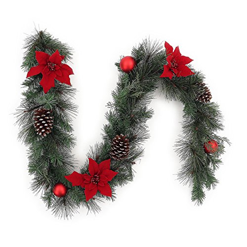 6 Ft Unlit Red Poinsettia and Ball Ornaments Artificial Pine Christmas Garland Wreath
