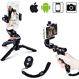 zeadio Ergonomic Swivel Smartphone Handheld Grip Stabilizer Tripod Selfie Stick Handle Steadycam Kits with Bluetooth Shutter Remote, Fits iPhone Samsung Huawei Sony LG Nexus Nokia and all Phones