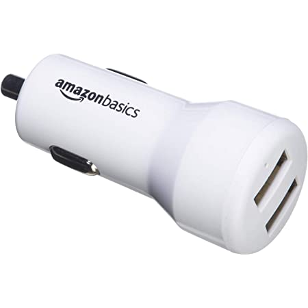 AmazonBasics 2.4A/12W per-port Dual USB Car Charger for Apple & Android Devices, White