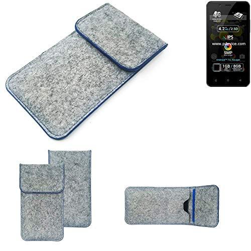 K-S-Trade Handy Schutz Hülle Für Allview P4 Pro Schutzhülle Handyhülle Filztasche Pouch Tasche Hülle Sleeve Filzhülle Hellgrau, Blauer Rand