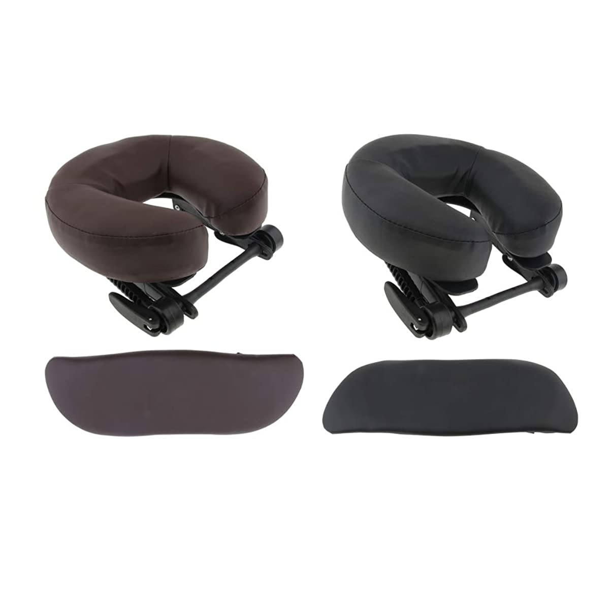 リテラシー反響するちらつきchiwanji 顔枕 マッサージ用 フェイスピロー U字型 アームサポート マッサージテーブル用 全2種選択 - ブラウン+ブラック