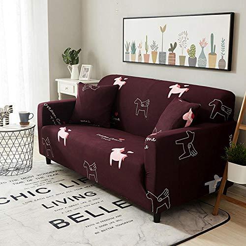 NLADTWLSD Funda de sofá de Alta Elasticidad, impresión Fundas para Sofa Antideslizante Cubierta para Sofa Protector para Sofás Lavable para el Salón (4 Asiento,Rojo Oscuro)