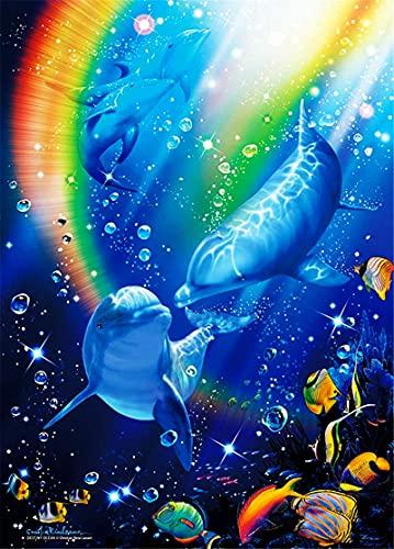 RNTJRTT Maluj według numerów zestawy do dekoracji mebli obraz delfin dla dorosłych początkujących i dzieci studentów płótno obraz olejny zestaw z pędzlem do malowania farby akrylowe 40 * 50 cm