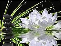 DIY5Dダイヤモンドペインティングキット ホワイトロータス 大人 子供用 ン フルドリル ダイヤモンド刺繍ホームオフィス ウォールアート 装飾40X30cm