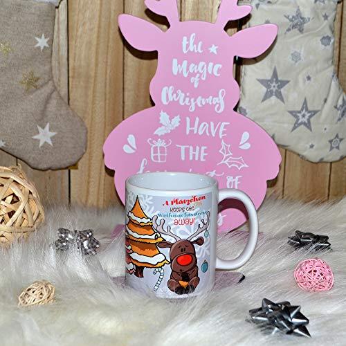 Tasse Becher Weihnachten Rentier mit Keks