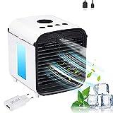 Air Mini Cooler, Nifogo Aire Acondicionado Portátil, 3 en 1 Climatizador Evaporativo Frio Ventilador Humidificador Purificador de Aire(Blanco+Enchufe)