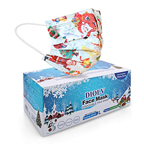 DIOLV 50 Pcs Christmas Disposable Face Mask 3 Layer Masks Adults Breathable Face Cover for Xmas Holiday