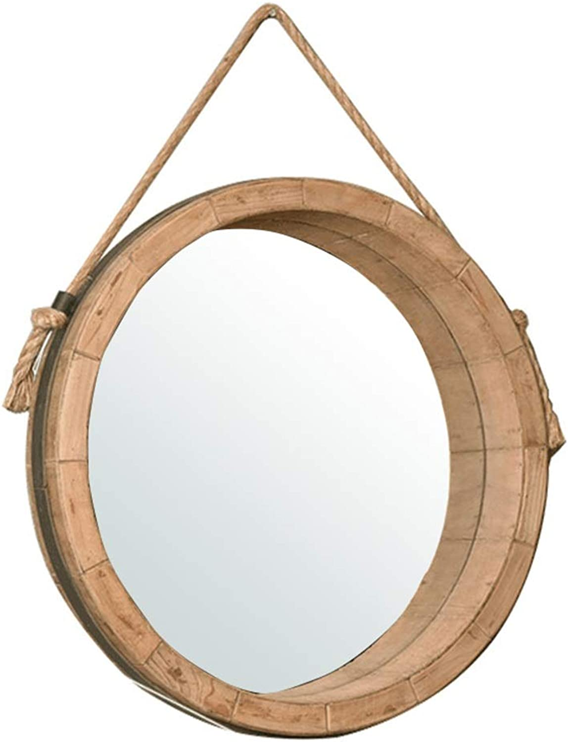 Nordic Makeup Round Mirror Bathroom Decoration Wall Hanging Mirrors Wood and Hemp Rope Design Decorative Mirror Holder (color   Wood color, Size   45CM)