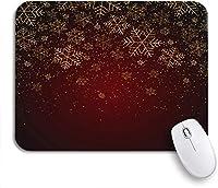 ROSECNY 可愛いマウスパッド ノートブックコンピュータ、マウスマット用のクリスマス新年の金の雪片と赤いお祭り冬の滑り止めゴムバッキングマウスパッド