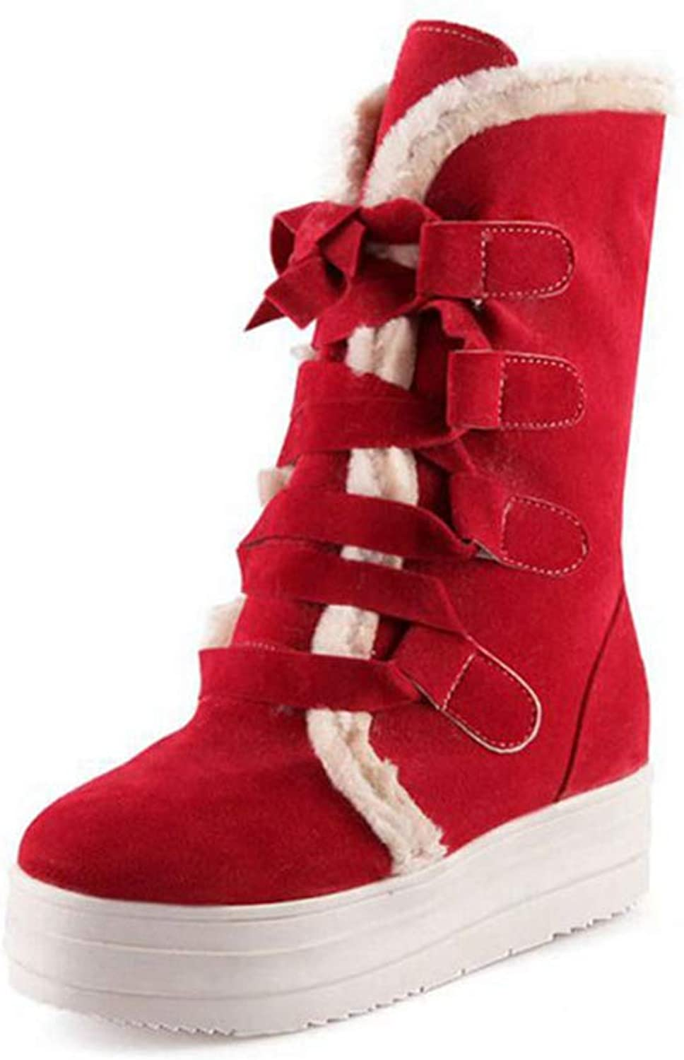 Zarbrina Womens Winter Warm Calf Boots Rubber Sole Round Toe Lace Up Fleece Lined Plush Roman Snow shoes