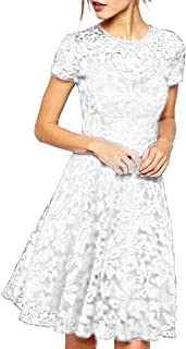 STRIR-Ropa, Vintage Encaje Slim Fit Fiesta Vestido STRIR Mujer Vestido Encaje Elegante Cóctel Fiesta Manga Corta Vestido con Cuello Redondo
