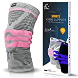 Lifella Knee Brace, Compression Sleeve FDA Approved with Patella Gel Pads & Side Stabilizers - support for Arthritis, ACL, Running, Biking, Basketball Sports, Joint Pain Relief (Pink, XL)
