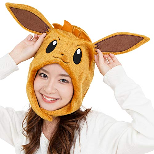 SAZAC Kigurumi Mütze – Pokemon – Eevee – gemütliche Kostümmmütze – Erwachsenengröße braun
