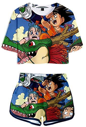 HAOSHENG Mädchen Damen Japanischer Anime-Druck Dragonball Casual Crop Top T-Shirts und Shorts Street Fashion 2 Stück Set(M)