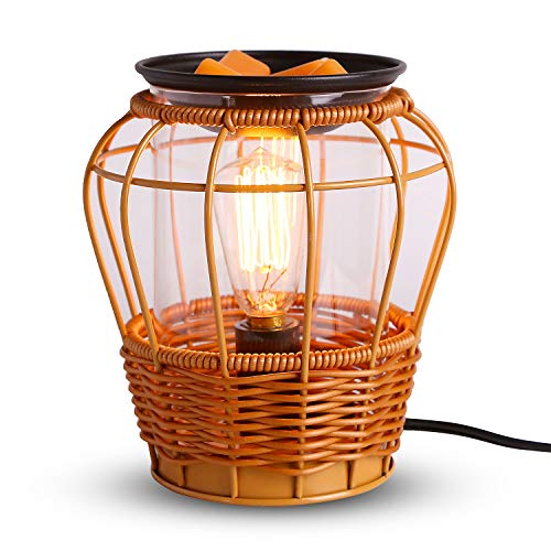 kobodon Edison Style Rattan Metal Candle Warmer for Wax Cubes Freshener Wax Melter, Wicker Scented Wax Warmer Oil Lamp.