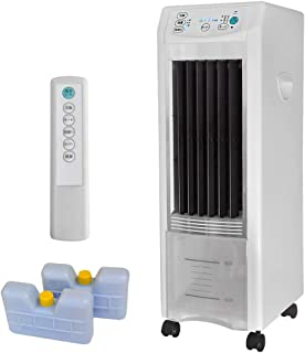 UP STORE 冷風扇 エアコンより電気代が安くて 扇風機よりも涼しい 冷房器具 マイナスイオン発生 おまけ保冷剤パック2個付き 更に冷たい風を送る リモコン キャスター付き タワー型タイプ タイマー 上下120° 左右80°自動スイング 丸洗い可能給水タンク 抗菌加工 AC電源 水分を含んだしっとり冷風で空気を乾燥させない
