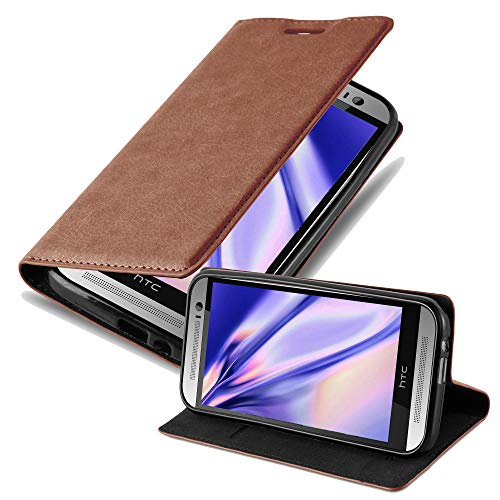 Cadorabo Book Case Works with HTC ONE M8 in Cappuccino Brown – with Magnetic Closure, Stand Function and Card Slot – Wallet Etui Cover Pouch PU Leather Flip