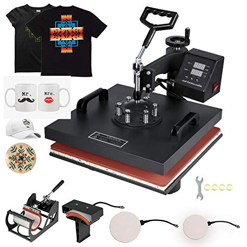 VEVOR Heat Press 15x15 Inch Heat Press Machine 5 in 1 Digital Multifunctional Sublimation T-Shirt Heat Press Machine for T Shirts Hat Mug Cap Plate (15x15 Inch, Yellow)