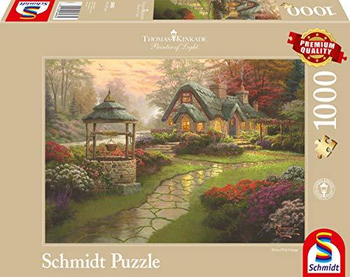 Schmidt Spiele Puzzle 58463 - Thomas Kinkade, Haus mit Brunnen, 1.000 Teile Puzzle