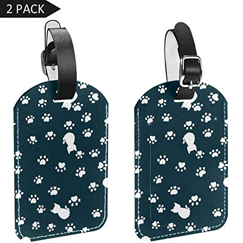 Luggage Tags Cat Footprints Leather Travel Suitcase Labels 2 Packs