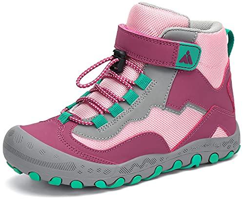 Mishansha Kinder Trekkingschuhe Mädchen Wanderschuhe Halbschuhe High Top Sneaker Outdoor rutschfest Wanderstiefel Sport Walking Kinderschuhe, Rosa Rouge 32 EU