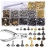 Wuudi 480 sets 3 Größen Leder Nieten Doppelkappe Niet Metall Ohrstecker mit 4 Werkzeuge Zange Setzer für DIY Lederhandwerk kleidung Reparieren Dekoration,4 Farben