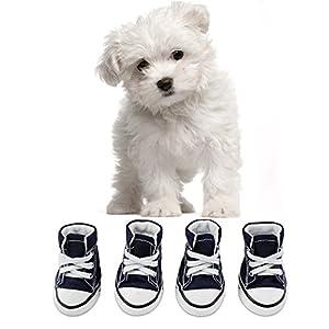 KEESIN Chiot Chien de Compagnie Antidérapant Toile Chaussures de Sport En Plein Air Baskets Bottes Chaussures de Sport, Semelle en Caoutchouc + Tissu Intérieur en Coton Doux(#2)