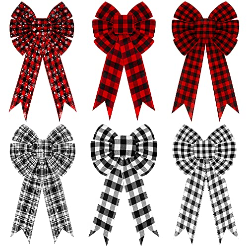 Whaline 6pcs Christmas Bow Decorations, Buffalo Plaid Bows, Large Wreath Bow, Red Black White Bows, Xmas Decorative Bows Ornaments for Home Decor, Christmas Party, 12.6 x 10.2in