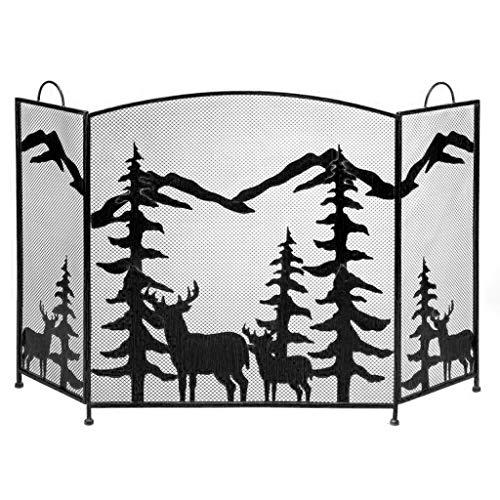 Spark Fire Guard 3 Panel de Pantalla Negro Chimenea Chispa de Pantalla Protector de la Cubierta de Elk árbol de Navidad de Metal Chimenea Pantallas de Fuego (Color : A)