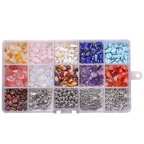 MYBOON 700 Piezas/Caja de Cuentas de Piedra Irregulares con Orificios para Hacer Joyas, Cuentas de Chips de Piedras Preciosas, Cuentas de Bricolaje