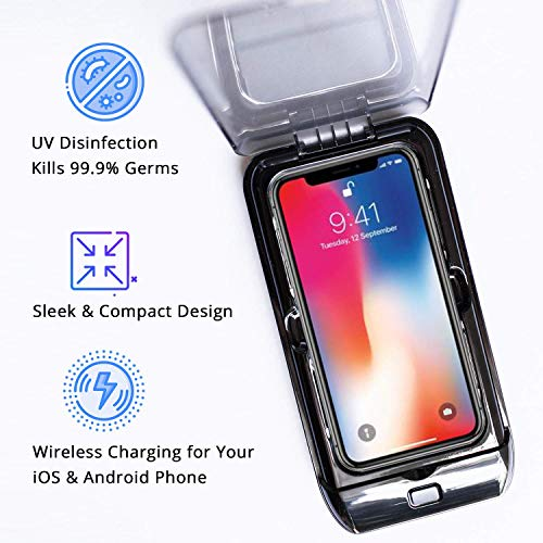 Portable Multi-Functional UV Sterilizer & Wireless Charger UV Cell Phone Sanitizer, UV Mobile Phone Disinfector, UV Light Sanitizer Box for Android & iOS, Jewelry and Watch
