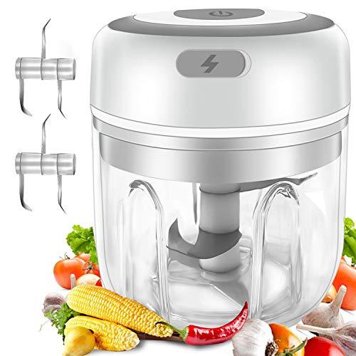Gintan Elektrisch Zerkleinerer Küche,250ML Mini Knoblauchhacker Gemüsezerkleinerer Elektrisch Zwiebelschneider mit 3 Scharfen Klingen für Knoblauch Gemüse Obst Fleisch Multizerkleinerer