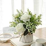 NAWEIDA Flores artificiales con pequeño jarrón de cerámica de imitación de rosas artificiales Plantas falsas Hojas de eucalipto Bayas arreglos florales Decoraciones para el hogar (blanco)