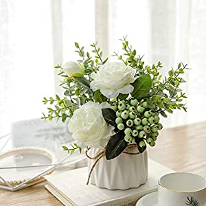 NAWEIDA Artificial Flowers with Small Ceramic Vase Faux Roses Fake Plants Eucalyptus Leaves Berries Flower Arrangements Decorations for Home(White)