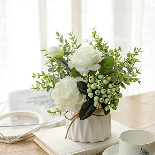 NAWEIDA Flores artificiales con pequeño jarrón de cerámica de imitación de rosas artificiales Plantas falsas Hojas de...