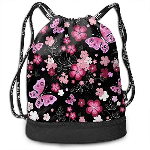 Stylish Drawstring Bag Bundle Backpack with Inside Zipper Pocket, Water-Resistant Sackpack for Men Women Girls Boys Students Teens (Black Red Flower)