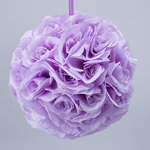 Simply Elegant 10' Round Silk Pomander Rose Kissing Ball with Satin Ribbon for Hanging Wedding Decor and Centerpieces (12 Pieces) (Lavender)