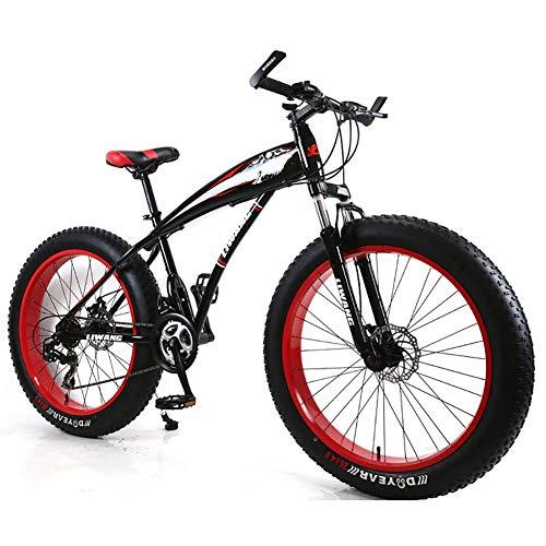 Unbekannt Mountainbike Herren MTB Bike 24 Zoll Fat Tire Fahrrad Schnee-Fahrrad Mit Scheibenbremsen Und Federgabeln,Black red,24Speed