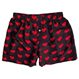 Royal Silk Silk Heart Boxers Valentine's Day - Red on Black - Men's L