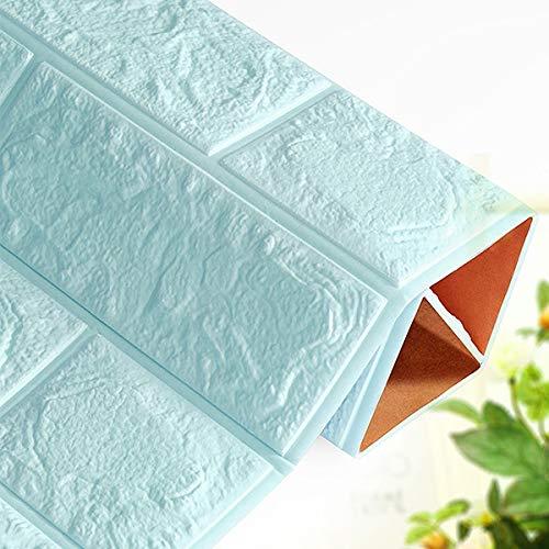 QWERTYU 3D Muurstickers Imitatie Baksteen Slaapkamer Decor Waterdicht Zelfklevend Behang Voor Woonkamer Keuken TV Achtergrond Decor LIFUQIANGME, Lichtblauw 60x60cm
