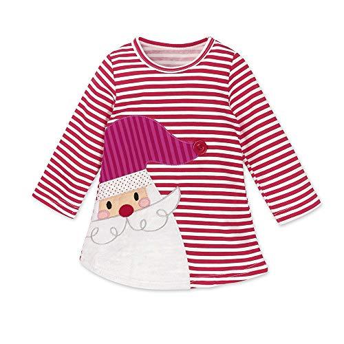 Riou Weihnachten Baby Kleidung Set Pullover Outfits Winteranzug Kinder Baby Mädchen Deer Gestreifte Prinzessin Kleid Weihnachten Outfits Kleidung (110, Rot)