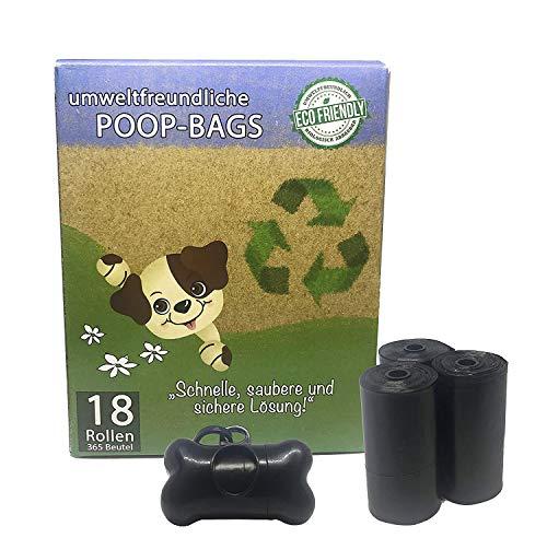 365 Premium Hundekotbeutel/Poop Bags mit Spender | biologisch abbaubar, umweltfreundlich, extra stark, geruchsneutral und tropfsicher