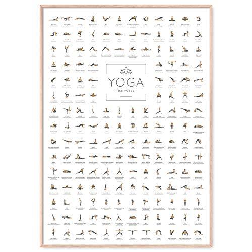 JUNOMI® Yoga Poster XL mit 168 Posen und Asanas, Yoga Zubehör für Studios und Übungen Zuhause, perfekte Yoga Geschenkidee, Yoga Übungen für abwechslungsreiches Training für Anfänger und Profis
