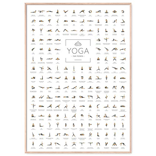 JUNOMI Yoga Poster XL con 168 posizioni e ansanas, perfetta idea regalo di yoga per principianti e professionisti, Accessori yoga per studi ed esercizi a casa, Esercizi yoga allenamento vario