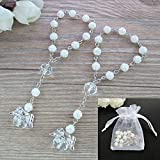 Baptism Favor 12PCS Mini Angel Rosaries Christening First Communion Recuerditos Bautizo Gift for Guest with Gift Bags West East Imports