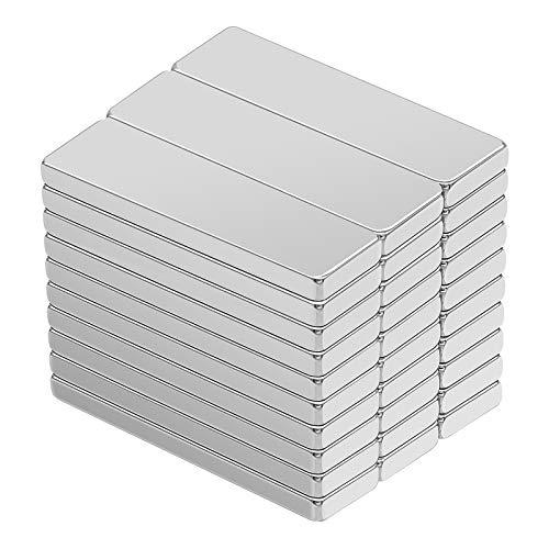 Imán de Neodimio, 30 Pieza Super Fuerte Rectángulo Imán de Tierras Raras, Neodimio N52 Imán, para la Cocina, Refrigerador, Experimentos Científicos, Diseño de DIY, Oficina, 30X10X3mm