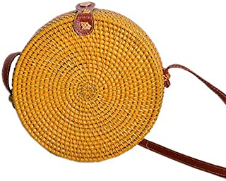SODIAL Color Vintage Handmade Crossbody Leather Bag Round Beach Bag Girls Circle Rattan Bag Small Bohemian Shoulder Bag Yellow